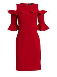 Teri Jon by Rickie Freeman - Stretch Crepe Ruffled Cold-Shoulder Dress at Saks Fifth Avenue