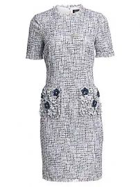 Teri Jon by Rickie Freeman - Tweed Beaded Appliqu   Sheath Dress at Saks Fifth Avenue