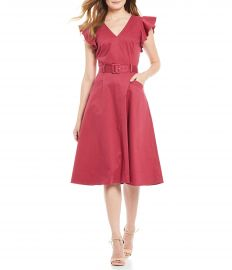 Tess V-Neck Flutter Sleeve Belted A-Line Midi Dress by Antonio Melani at Dillards