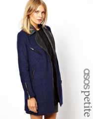 Texture Wool Biker Coat at Asos