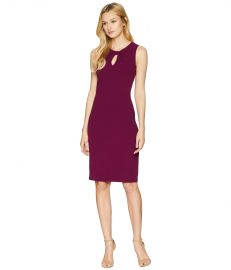 Textured Crepe Draped Neckline Sheath Dress by Adrianna Papell  at Zappos