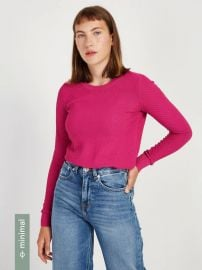 Textured Crewneck Sweater in Fuchsia by Frank and Oak at Frank and Oak