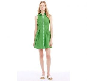 Textured Fit and Flare Shirtdress in Green at Armani Exchange