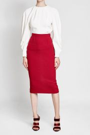 Textured Top with Draped Sleeves by Victoria Beckham at Stylebop