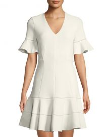 Textured V-Neck Flounce Dress by Rebecca Taylor at Last Call