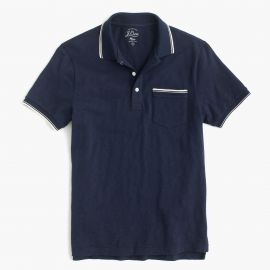 Textured cotton tipped polo shirt in navy at J. Crew