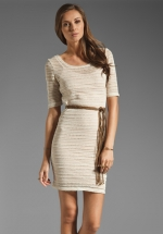 Textured elbow sleeve dress at Revolve