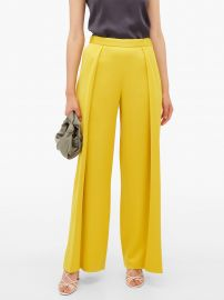 Textured pleat satin trousers at Matches