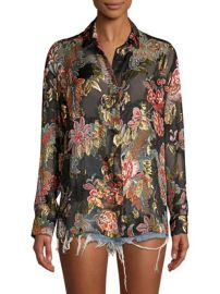 The Kooples Bollywood Metallic Floral Blouse at Saks Fifth Avenue