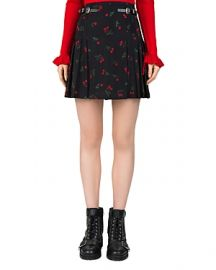 The Kooples Cherry Love-Print Pleated Silk Skirt at Bloomingdales