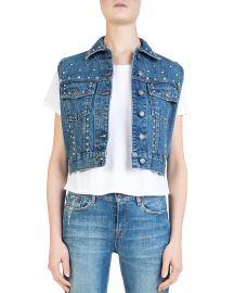 The Kooples Cropped Studded Denim Vest at Bloomingdales