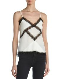 The Kooples Lace-Trimmed Silk Camisole Top at Bloomingdales