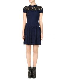 The Kooples Ribbed Lace-Inlay Dress at Bloomingdales