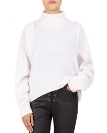 The Kooples Studded Draped Turtleneck at Bloomingdales