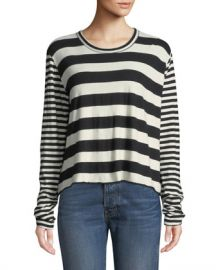 The Great Striped Long-Sleeve Cropped Tee at Neiman Marcus