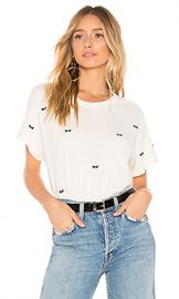 The Great The Boxy Crew in Washed White with Bow Embroidery from Revolve com at Revolve