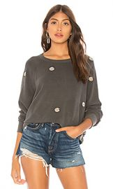 The Great The College Sweatshirt in Washed Black  amp  Daisy Embroidery from Revolve com at Revolve