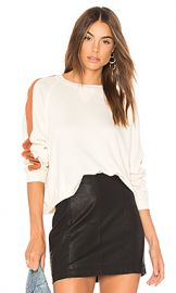 The Great The Cropped Sweatshirt in Washed White  amp  Rust from Revolve com at Revolve