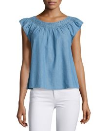 The Great The Flutter Sleeve Embroidered Denim Top  Light Blue at Neiman Marcus