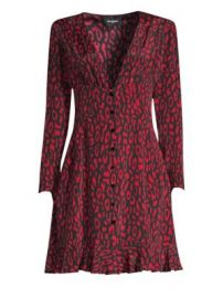The Kooples - Animal Print A-Line Silk Dress at Saks Fifth Avenue