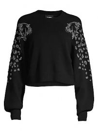 The Kooples - Embellished Puff-Sleeve Crop Sweater at Saks Fifth Avenue