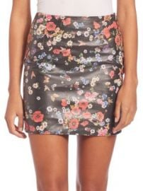 The Kooples - Flower Print Leather Skirt at Saks Off 5th