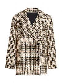 The Kooples - Fringe-Trim Double-Breasted Plaid Blazer at Saks Fifth Avenue