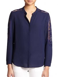 The Kooples - Lace-Trimmed Crepe Blouse at Saks Fifth Avenue