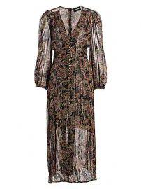 The Kooples - Paisley Metallic Silk Midi Dress at Saks Fifth Avenue