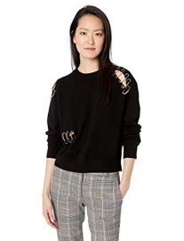 The Kooples  Crewneck Sweater with Gold Safety Pin Details at Amazon