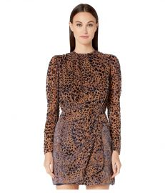 The Kooples Belted Dress with Balloon Sleeves in a Burnout Leopard Print at Zappos