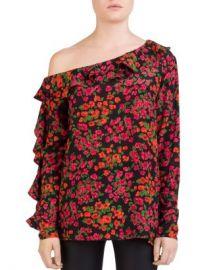 The Kooples Camelia Ruffled One-Shoulder Floral Silk Top Women - Bloomingdale s at Bloomingdales