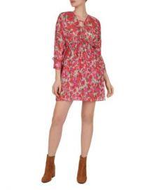 The Kooples Cherry Blossom Tie-Detail Mini Dress Women - Bloomingdale s at Bloomingdales
