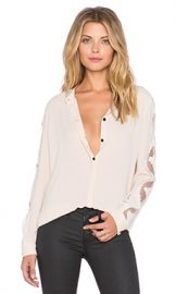 The Kooples Crepe Shirt With Lace Inserts On The Sleeves And Shoulders in Nude at Revolve