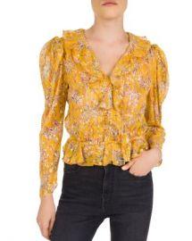 The Kooples Feuille D  x27 or Ruffled Floral Silk-Blend Top Women - Bloomingdale s at Bloomingdales