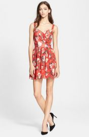 The Kooples Floral Print Chiffon Fit and Flare Dress at Nordstrom