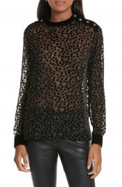 The Kooples Floral Print Devor   Velvet Blouse at Nordstrom