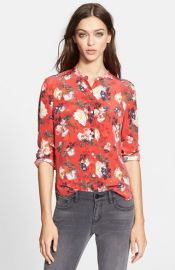 The Kooples Floral Print Silk Shirt at Nordstrom
