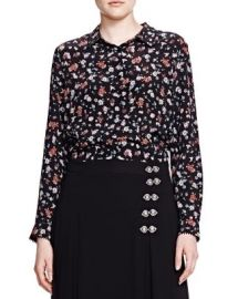 The Kooples Floral Print Silk Shirt at Bloomingdales