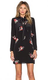 The Kooples Flower Print Dress with Lace Collar in Black at Revolve
