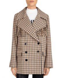 The Kooples Fringed Plaid Double-Breasted Coat Women - Bloomingdale s at Bloomingdales