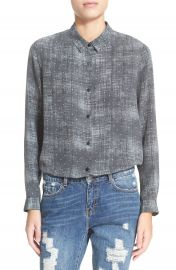 The Kooples Fuzzy Star Print Silk Shirt at Nordstrom