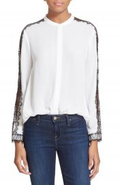 The Kooples Lace Inset Crepe Blouse at Nordstrom