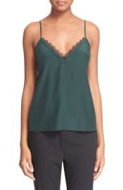 The Kooples Lace Trim Cr  pe de Chine Camisole green at Nordstrom