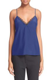 The Kooples Lace Trim Cr  pe de Chine Camisole in Blue at Nordstrom