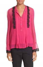 The Kooples Lace Trim Silk Blouse at Nordstrom