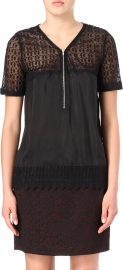 The Kooples Lace Zip Front Top at Nordstrom