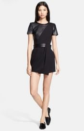 The Kooples Leather Contrast Fit andamp Flare Dress at Nordstrom