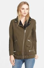 The Kooples Leather Detail Canvas Parka at Nordstrom