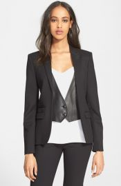 The Kooples Leather Trim Stretch Wool Jacket at Nordstrom